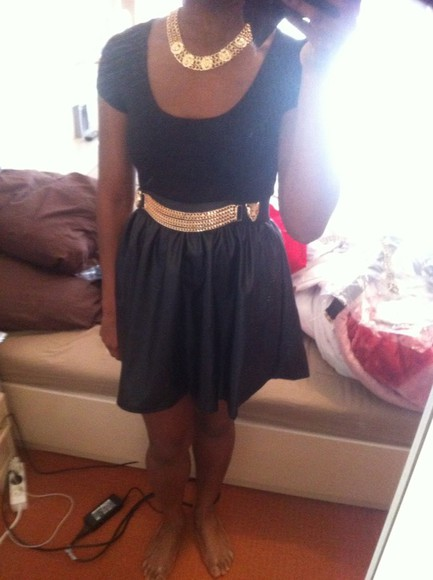 belt skirt gold and black belt