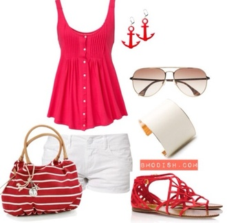 tank top pretty pretty outfit summer outfits outfit crop top shorts white shorts summer shorts beach outfit seeling boat trip lively lovely inspiration summerish ancer shoes