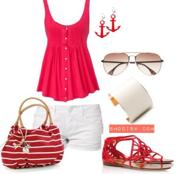 shoes lively tank top pretty outfit summer outfits outfit crop tops shorts white shorts summer shorts beach seeling boat trip lovely inspiration summer outfits summerish ancer