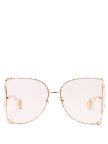 e4208e0a93c6 GUCCI Oversized butterfly-frame GG sunglasses in pink - Wheretoget