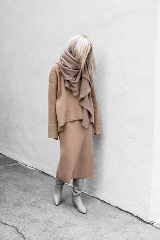 sweater tumblr knit knitwear knitted sweater nude sweater nude skirt knitted skirt matching set all nude everything boots scarf