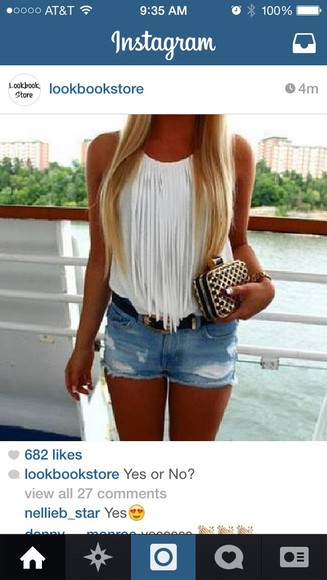 summer blouse white tank top lookbookstore fringe