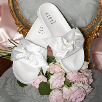 shoes fenty by rihanna bow slide bow bows bow shoes fenty x puma fenty x puma rihanna sliders slide shoes summer summer accessories white shoes