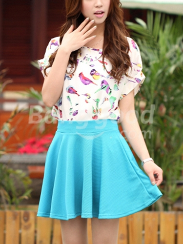 Multicolor High Waist Fold Short Slim Mini Cute Sweet Skirt - CA$9.10