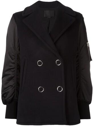 jacket bomber jacket double breasted women spandex blue wool