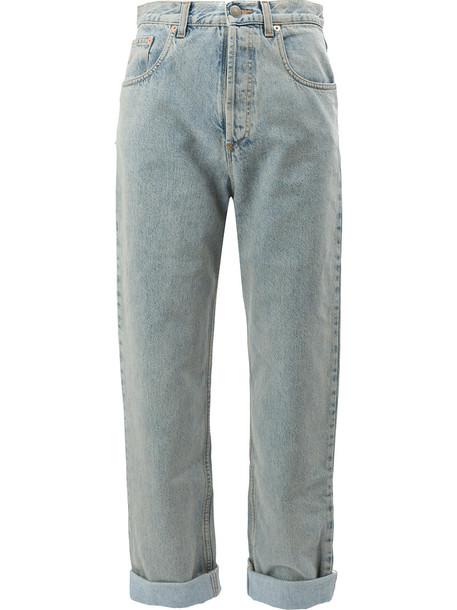 gucci jeans women tiger leather cotton blue
