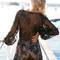 Black plunge v-neck tie waist sheer lace overlay romper playsuit