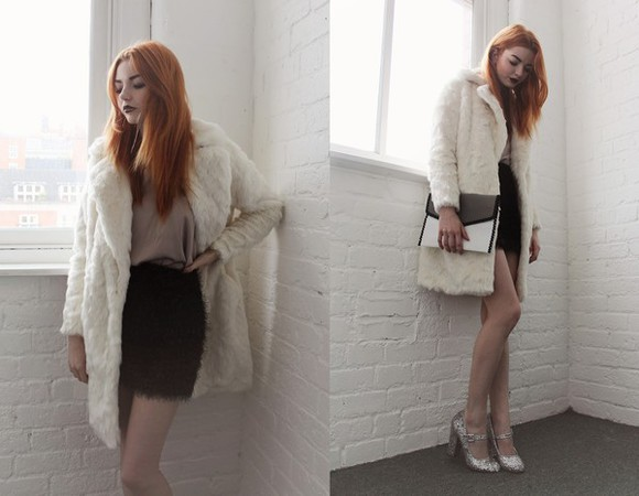 silver blogger coat top hannah louise fashion pouch fluffy