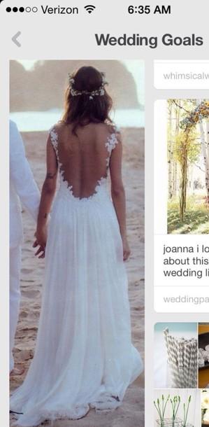 Hippie Wedding Dresses.Gorgeous White A Line Straps Sweep Train Lace Wedding Dress