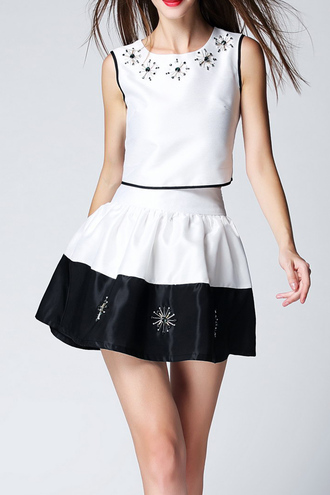 dress girly summer classy two-piece black and white elegant dezzal