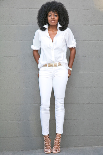 blogger shirt jeans shoes white nude heels white jeans white top button up skinny jeans black girls killin it black girls slayin all white everything white shirt caged sandals nude sandals sandals sandal heels high heel sandals strappy sandals spring outfits hoop earrings