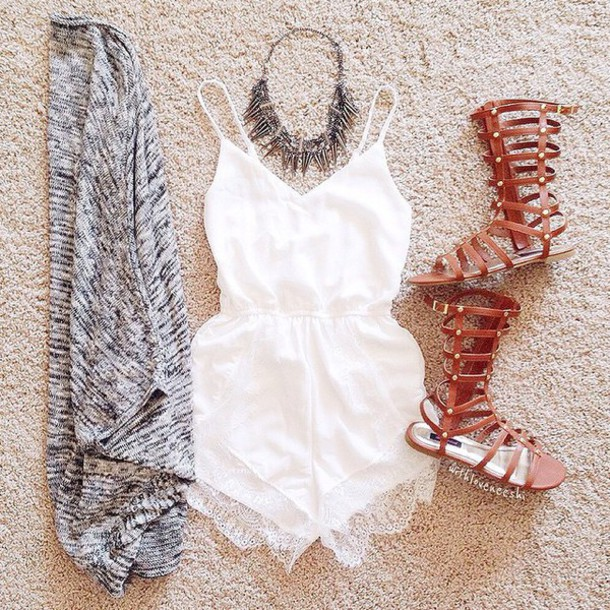 romper white lace shorts white dress white romper lace romper shoes gladiators jumpsuit cardigan grey cardigan jewelry outfit summer top white lace
