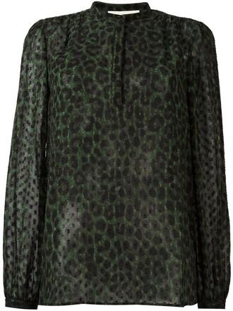 blouse women print green leopard print top
