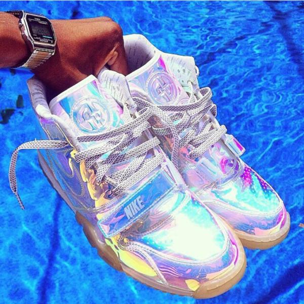 shoes silver sneakers rainbow metallic custom