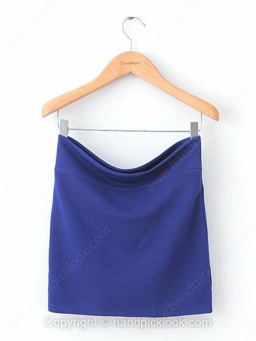 Royal Blue Mid Waist Elastic Waist Skirt - HandpickLook.com