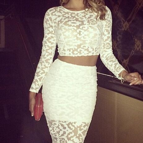 Hot lace two piece fashion dress
