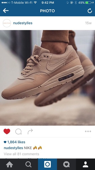 shoes nike sneakers air max nude sneakers nude