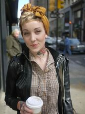 shirt,streetstyle,ruffled top,ruffled front,checked shirt,button down shirt,gingham,leather jacket,punk,casual,tattoo,outfit,beige,black,brown,leather,jacket