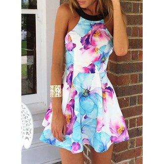 dress floral blue pink fashion mode