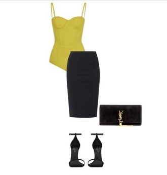 top tank top shoes skirt where to get this bodysuit fall outfits classy saint laurent clutch strappy heels wheretoget? where to get this skirt where to get this outfit!