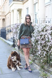 thank fifi,blogger,sweater,skirt,bag,jewels,coat,embroidered skirt,embroidered,mini skirt,black bag,crossbody bag,top,olive green top,sunglasses,aviator sunglasses,high heels,lace up heels