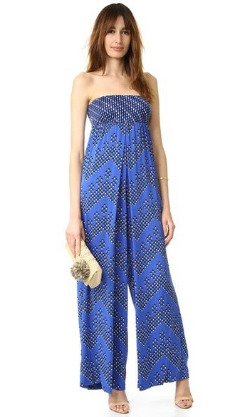 jumpsuit strapless blue chevron