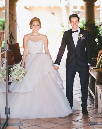 green wedding shoes blogger wedding dress mens suit menswear strapless princess wedding dresses