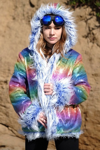 coat sequins pastel coachella burning man coat boho chic further future rainbow faux fur faux fur jacket faux fur coat festival festival top burning man boho boho chic fashion reversable jacket