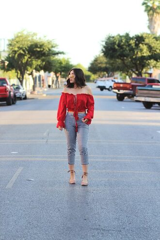pants tumblr gingham sandals sandal heels top red top crop tops off the shoulder off the shoulder top shoes