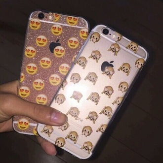 phone cover iphone iphone case emoji print emoji case heart eyes monkey