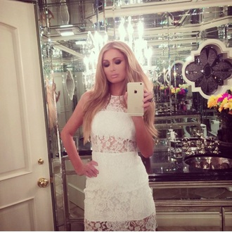 dress lace dress white lace dress paris hilton