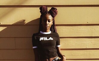 t-shirt black black and white crop tops fila