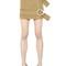 Belted light wool mini skirt