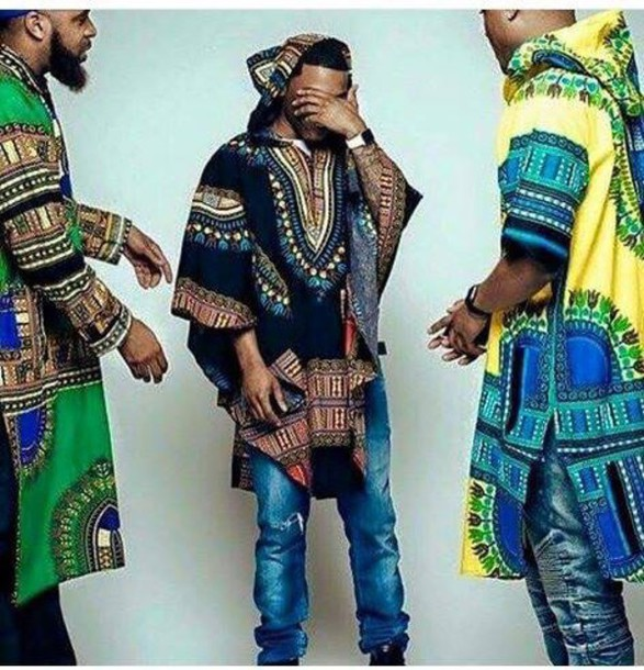 top dashiki menswear blue green red yellow white african print hoodie aztec african american