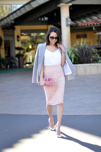 hapa time blogger blazer pencil skirt pink skirt lace skirt white tank top jacket tank top skirt sunglasses bag jewels shoes spring skirt