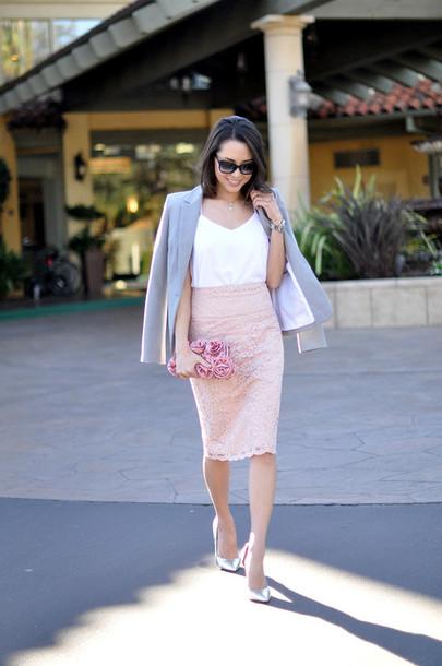 hapa time blogger blazer pencil skirt pink skirt lace skirt white tank top jacket tank top skirt sunglasses bag jewels shoes spring skirt