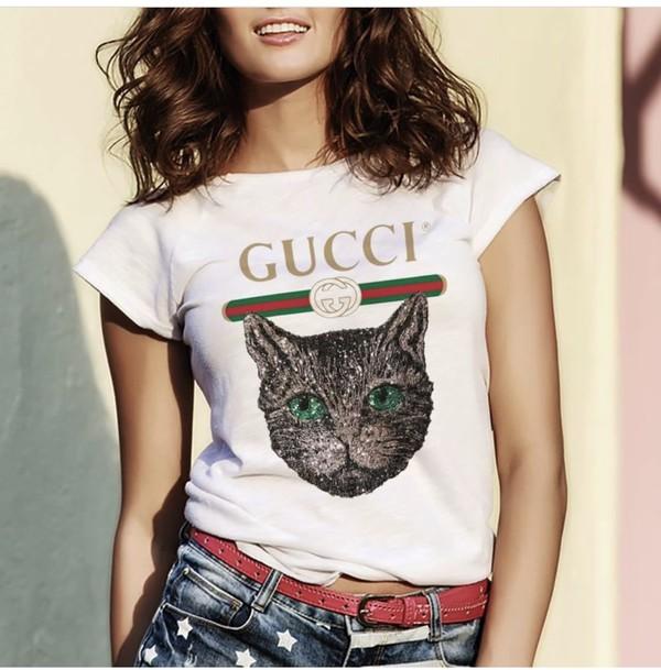 ea6cc3b8c8f0 Gucci - Gucci logo T-shirt with Mystic Cat