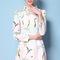 Pink crane printed peter pan collar long sleeve dress