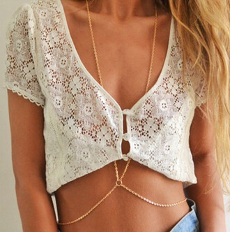 shirt lace lace shirt t-shirt white shirt white short shirt gold chain body chain chain jewels