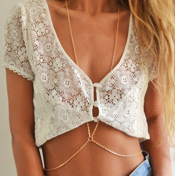 shirt lace lace shirt t-shirt white shirt white short shirt gold chain body chain chain jewels
