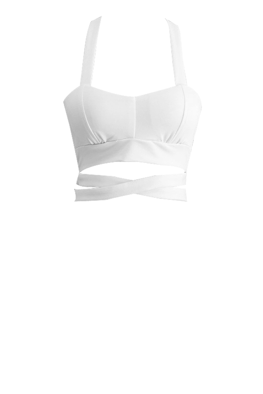 Tie Back Cross Strap Plain Crop Cami Bandeau