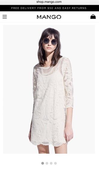 dress mango lace dress white dress long sleeve dress
