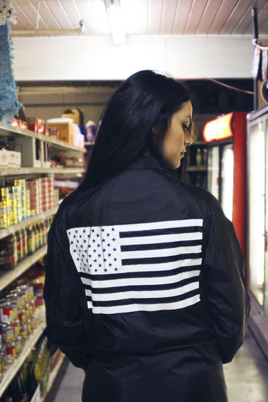 flag jacket girl