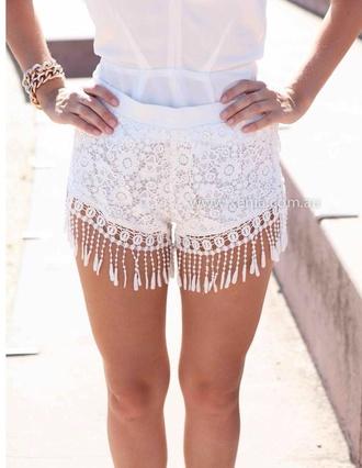 shorts crochet tassel white lace shorts summer shorts pretty fashion vintage
