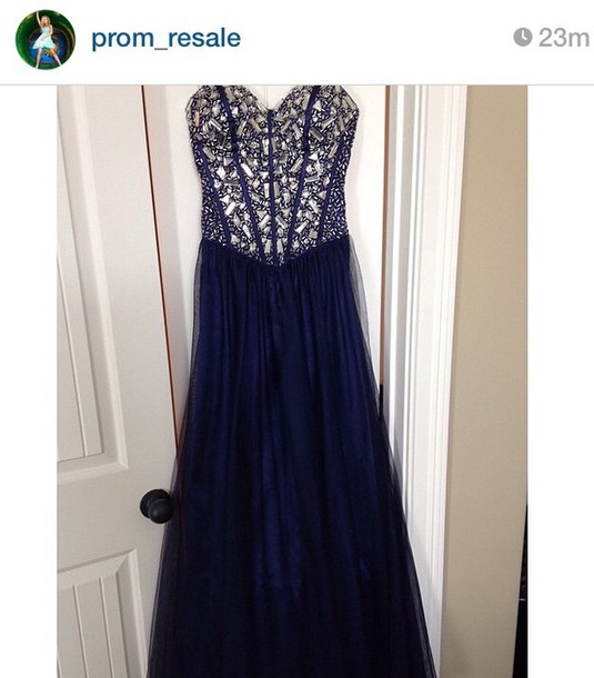 dress navy prom long strapless