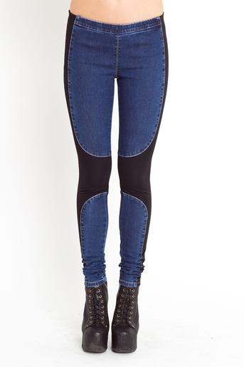 Denim chap leggings in  clothes bottoms denim at nasty gal