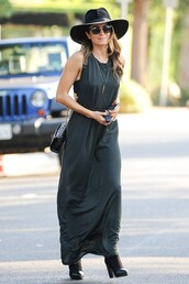 dress,maxi dress,nikki reed,stripes,bag,forest green