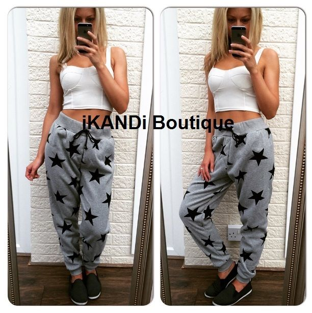 Womens Grey Star Elasticated Sweatpants Jogger Tracksuit Casual Pants 8 10 12
