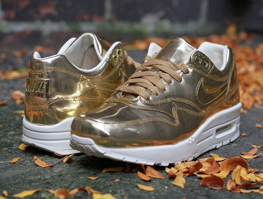Womens Nike Air Max 1 SP Metallic Liquid Gold Silver Ronnie Fieg Volcano Salmon | eBay