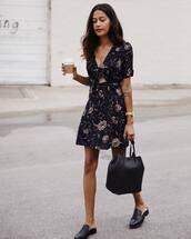 dress,tumblr,mini dress,floral,floral dress,bag,black bag,shoes,mules,cut-out